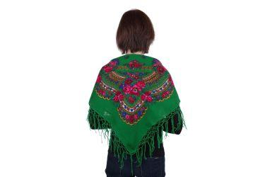 Chusta góralska bawełniana folk 90 cm z frędzlami zielona