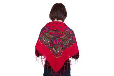 Chusta góralska bawełniana z frędzlami 90 cm czerwona