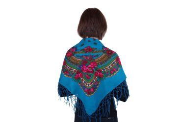 Chusta góralska bawełniana folk 90 cm z frędzlami turkus morska