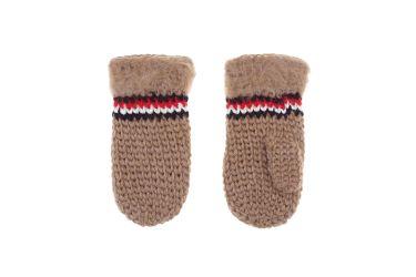 Rękawiczki wełniane z jednym palcem ręcznie robione brązowe