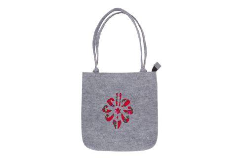 Torebka filcowa góralska folk torba na zakupy szara z parzenicą czerwoną
