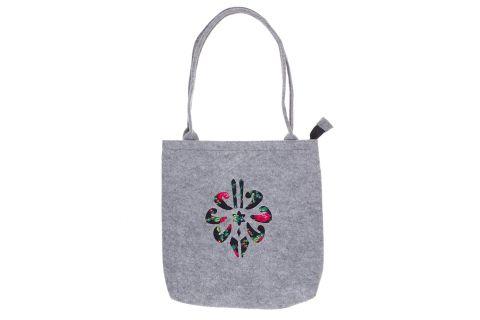 Torebka filcowa góralska folk torba na zakupy szara z parzenicą czarną