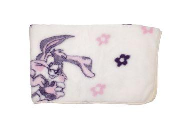 Koc wełniany wełna merynos 100x145 fioletowy królik