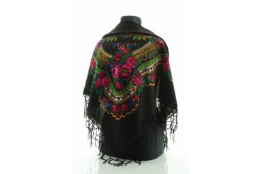 Chusta góralska bawełniana folk obrus 110 cm z frędzlami czarna