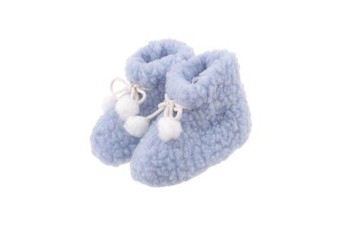 Bambosze wełniane z antypoślizgową podeszwą dla dzieci niebieskie