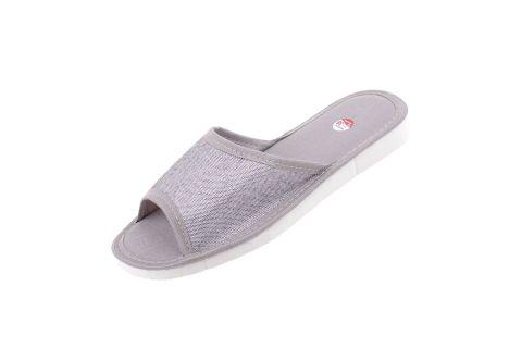 Pantofle bawełniane gruba podeszwa piankowa srebrne