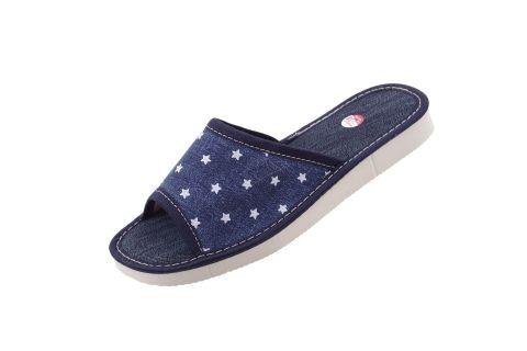Pantofle jeansowe gruba podeszwa piankowa granatowe w gwiazdki