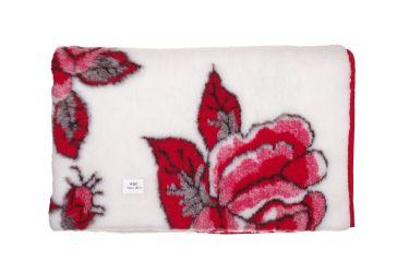 Koc wełniany wełna merynos 155x200 czerwona róża