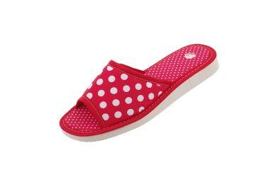 Pantofle bawełniane gruba podeszwa piankowa czerwone w groszki