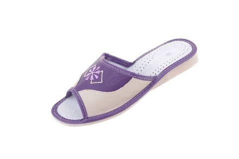 Pantofle skórzane góralskie profilowane fioletowe