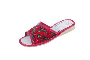 """Pantofle skórzane profilowane góralskie folk """"tybytki"""" czerwone"""