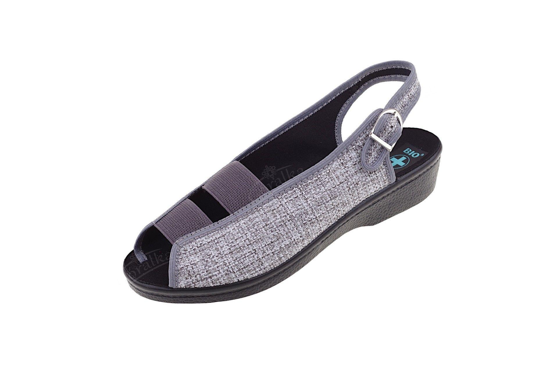 Sandały z gumą na sprzączkę BIO Adanex 14015 brąz Góralka