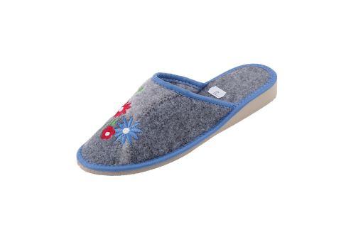 Pantofle filcowe kapcie na klinie gumowym haft