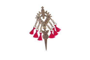 Spinka góralska parzenica broszka do stroju ludowego z czerwonym pomponem