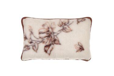 Poduszka z wełny merynos średnia 40x60 kwiaty brąz