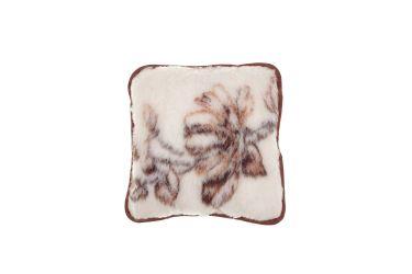 Poduszka wełniana jaś naturalna wełna merynos 45x45 kwiaty brąz