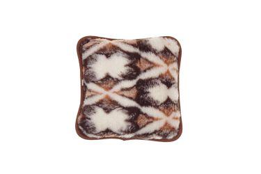 Poduszka wełniana jaś naturalna wełna merynos 45x45 brązowe chmurki
