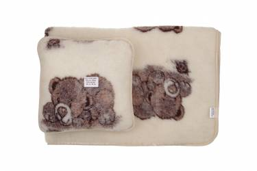 Komplet wełniany merynos koc 100x140 poduszka 40x40 niedźwiadek