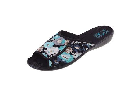 Pantofle klapki odkryte szersze BIO Adanex 23046 szersze w kwiaty
