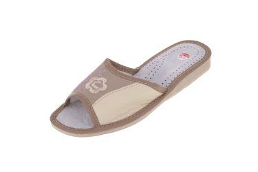 Pantofle skórzane profilowane brązowe z fioletowym dodatkiem