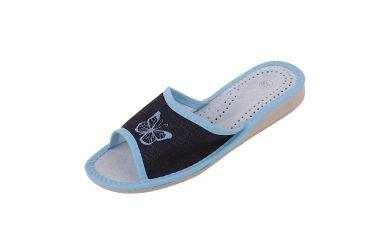 Pantofle skórzane profilowane jeans niebieski motylek