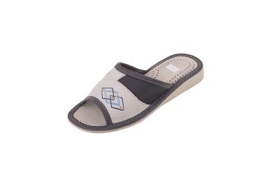 Kapcie skórzane pantofle domowe damskie grafit r. 35