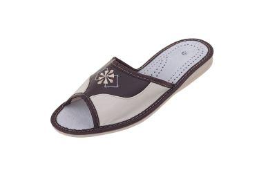Kapcie skórzane pantofle domowe ciemny brąz r. 42