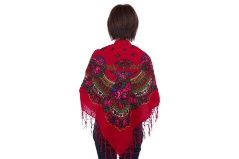 Chusta góralska bawełniana folk obrus 110 cm z frędzlami czerwona