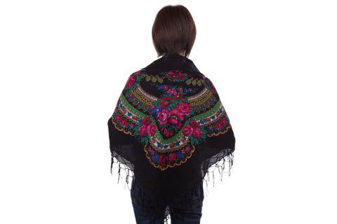 Chusta góralska bawełniana folk obrus 125 cm z frędzlami czarna