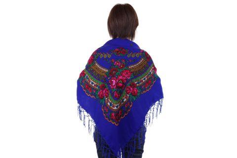 Chusta góralska bawełniana folk obrus 125 cm z frędzlami niebieska chabrowa
