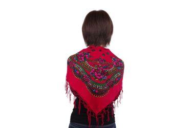 Chusta góralska bawełniana z frędzlami 75 cm czerwona