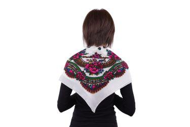 Chusta góralska apaszka folk bawełniana mała 75 cm biała