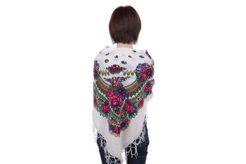 Chusta góralska bawełniana folk obrus 110 cm z frędzlami biała