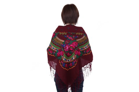 Chusta góralska bawełniana folk obrus 125 cm z frędzlami bordowa