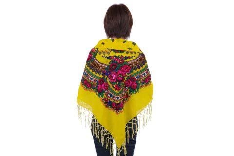 Chusta góralska bawełniana folk obrus 125 cm z frędzlami żółta
