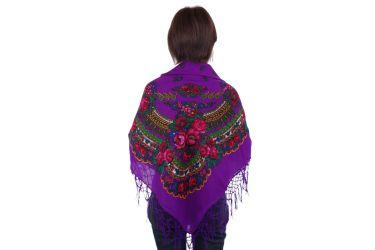 Chusta góralska bawełniana folk obrus 125 cm z frędzlami fioletowa
