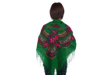 Chusta góralska bawełniana folk obrus 125 cm z frędzlami zielona