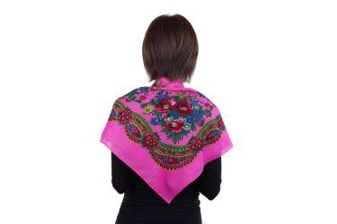 Chusta góralska apaszka folk bawełniana mała 75 cm róż jasny
