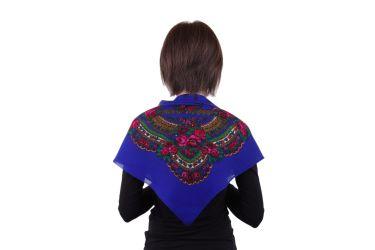 Chusta góralska apaszka folk bawełniana mała 75 cm niebieska róże