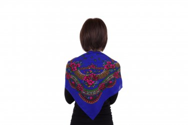 Chusta góralska apaszka folk bawełniana mała 75 cm niebieska