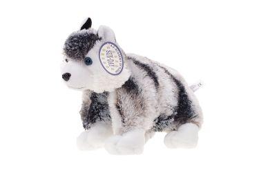 Poduszka składana maskotka plusz pies husky łaciaty średni
