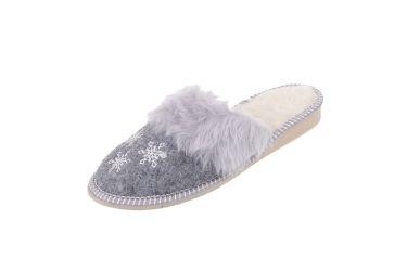 Pantofle filcowe ocieplane wełną naturalną śnieżynki
