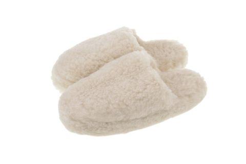 Pantofle wełniane wsuwane naturalne merynos beż