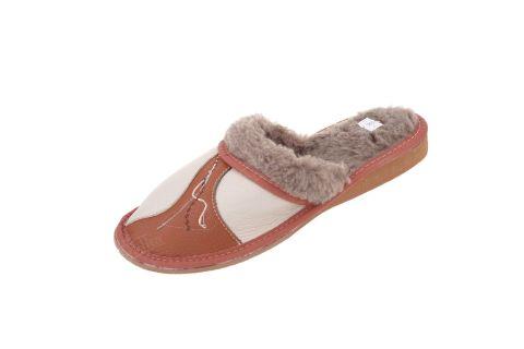 Pantofle ocieplane damskie rudy brąz