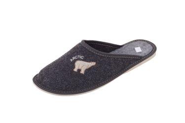 Pantofle filcowe męskie grafit złoty niedźwiadek