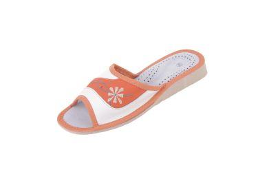 Pantofle skórzane damskie biało pomarańczowe z gwiazdką