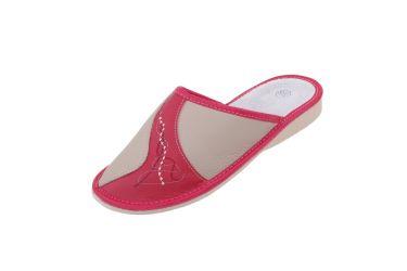 Pantofle skórzane profilowane na klinie czerwone z beżem