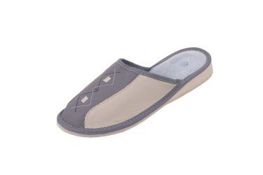 Pantofle skórzane kryte profilowane szare