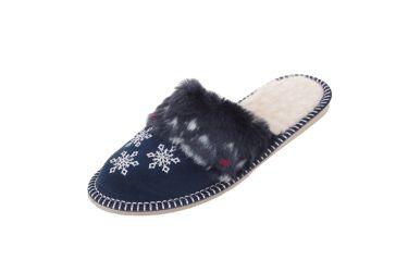Pantofle ocieplane wełną śnieżynki granatowe