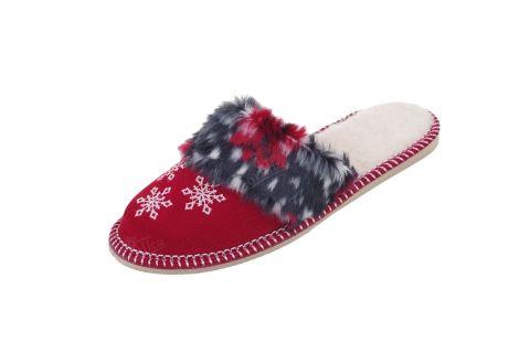 Pantofle ocieplane wełną śnieżynki czerwone